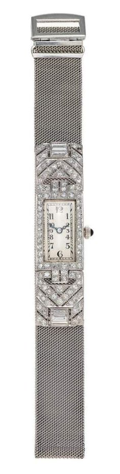 DAMENARMBANDUHRUm 1920. Handaufzug. Platin, diamantgeziert, Zffbl. lackiert, bedruckt, Zeiger gebleu — Armband- und Taschenuhren
