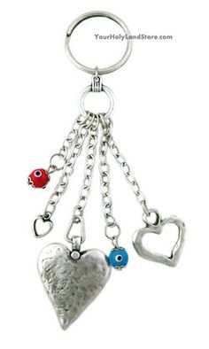 EVIL EYE KEY HOLDER WITH HEARTS  #jewish #judaica #gifts #keyholder #heart #evileye