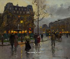 """Painting of the Day (AVAILABLE): Edouard Cortes' """"Place Pigalle"""" - http://rehs.com/blog/2015/04/painting-of-the-day-available-edouard-cortes-place-pigalle/"""