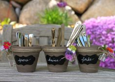 Summer project: Terracotta pots transformed into chic outdoor party utensil holders! Use chalkboard paint for labels and twine for décor!