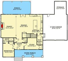 Architectural Designs --- love the kitchen!!! If we could rework some of the rest of the floor plan and have a 3 car garage....