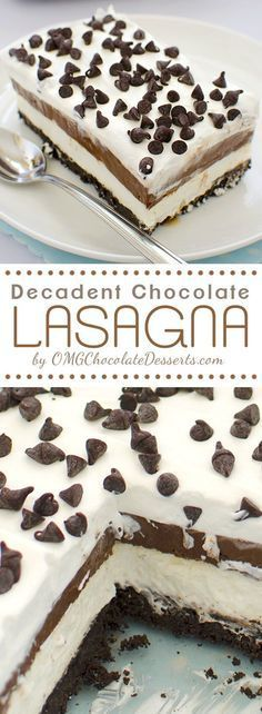 """Chocolate Lasagna - Easy chocolate dessert to make with layers of flavor! Chocolate, Oreo,cream, chocolate chips ... 