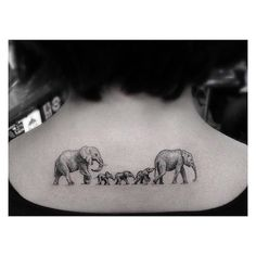 "Family ""Portrait"": Forget the stick figures on the back window of your car, you can represent your family in a million other ways, like with this adorable elephant family tattoo."