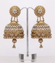 Very Large Jhumki Earrings - Light Weight : Online Shopping, - Shop for great products from India with discounts and offers, Indian Clothes and Jewelry Online Shop Jhumki Earrings, Indian Earrings, Big Earrings, Gold Hoop Earrings, Indian Jewelry, Gold Necklaces, Jewelry Patterns, Jewellery Designs, Gold Jewellery