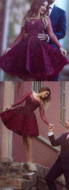 Burgundy Homecoming Dress,Wine Red Homecoming Dresses,Beading Homecoming Gowns,Long Sleeves Prom Dress,Short Prom Dress,Sweet 16 Dress