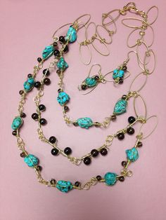 Turquoise and Brass + earrings  Will sell this one for $25.00.