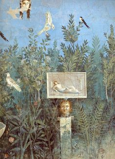 Painted in my bathroom: Roman fresco from House of the Golden Bracelet, garden room mural, Pompeii, before 79 A. Rome Painting, Roman Garden, Art Romain, Art Rupestre, Pompeii And Herculaneum, Pompeii Italy, Art Antique, Roman Art, Greek Art
