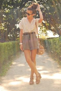 top knot, sun glasses, ivory and gray, and tan shoes and purse.  Perfect