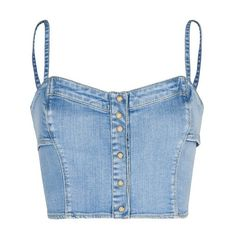 Designer Clothes, Shoes & Bags for Women Blue Denim Shirt, Denim Crop Top, Blue Crop Tops, Jeans Denim, Crop Shirt, Denim Shirts, Cropped Tops, Kpop Fashion Outfits, Stage Outfits
