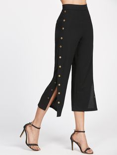 SheIn offers Black Metal Button Side Pants & more to fit your fashionable needs. Look Fashion, Fashion Pants, Fashion Women, Fashion Outfits, Fashion Design, Fashion Black, Fast Fashion, Fashion Online, Fashion Ideas