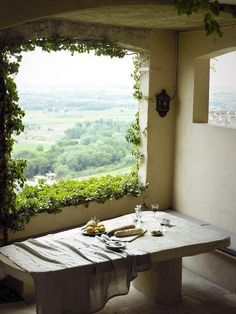 View from a window in France, Tuscany, California .
