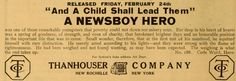Ad for the 1911 silent film A Newsboy Hero.  The film is lost.