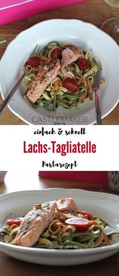 Super einfaches Rezept für eine köstliche Tagliatelle mit Lachs. Natürlich geht auch jede andere Pastasorte für dieses einfache Pastarezept. Die Kinder lieben es. Das Rezept für die Lachsnudeln gibt es auf Castlemaker.de #pasta #rezept #einfach