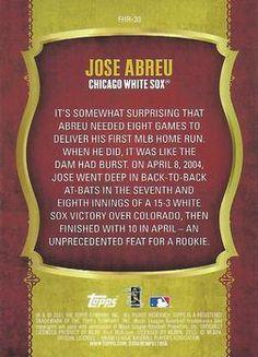 2015 Topps - First Home Run Silver #FHR-30 Jose Abreu Back
