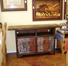 "New TV stand in today at #Casa del Sol Designs in #Mansfield, TX. This is our 63"" Tri-Color TV Stand. Visit www.casadelsoldesigns.com for more info! Rustic Pine Furniture, Western Art, Cabinet Hardware, Bird Houses, Home Accessories, Entryway Tables, This Is Us, Pottery, Tv"