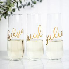 Personalized champagne flutes for bridesmaids- maybe with a mini bottle of champagne?