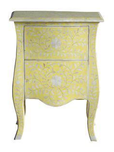 Showcasing an ornate bone inlay and sunflower finish, this lovely end table is perfect for resting a vase of vibrant blooms in the entryway or a reading lamp. Unique Furniture, Painted Furniture, Bohemian Chic Home, Window Coverings, Engineered Wood, Joss And Main, Victorian Homes, End Tables, Old Things