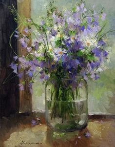 Beautiful painting, bouquet of purple wildflowers in a jar of water. Painting Still Life, Still Life Art, Paintings I Love, Beautiful Paintings, Oil Painting Flowers, Abstract Flowers, Watercolor Flowers, Watercolor Paintings, Bouquet Champetre