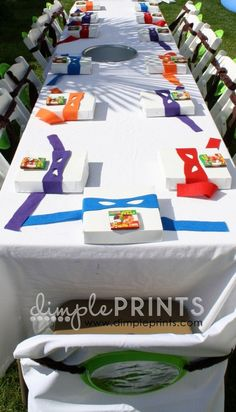 Ninja turtle party - it would be cute for everyone to have a personal pizza in a box. Surprise box as a pizza box? Ninja Turtle Party, Ninja Party, Ninja Turtles, Turtle Birthday Parties, Ninja Turtle Birthday, Birthday Party Themes, 7th Birthday, Carnival Birthday, Birthday Ideas