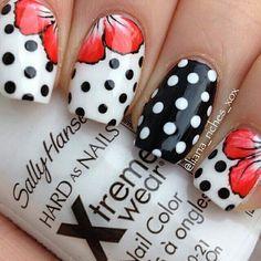 Black  white polka dot nail art