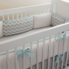 Mist and Gray Chevron Crib Bedding | Gender Neutral Baby Bedding in Chevron | Carousel Designs
