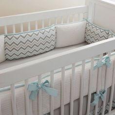 Mist and Gray Chevron Crib Bedding | Gender Neutral Baby Bedding in Chevron | Carousel Designs