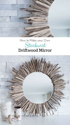 A beautiful rustic round mirror framed by pieces of driftwood. Check out the step-by-step tutorial for this coastal, beach-inspired DIY home decor project | via SustainMyCraftHabit