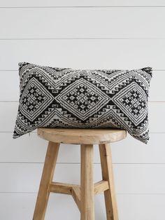 Black Tai Woven Indigo Lumbar Pillow | the Vintage Rug shop