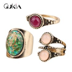 Gukin Unique Christmas Ring Set For Women Fashion Ancient Gold Dream Colorful StoneRings 3 Pcs/Set Turkish Jewelry Gifts #Affiliate