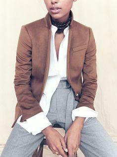 J.Crew Collection Regent blazer in cashmere, Thomas Mason® for J.Crew mandarin-collar tuxedo shirt, cropped wide-leg pant, pocket square and Elsie pumps with enamel heel.