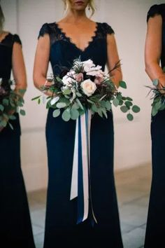 Navy Blue Bridesmaid Gowns // Intimate & Romantic Rosemary Beach Wedding via TheELD.com Beach Wedding Bridesmaid Dresses, Navy Blue Bridesmaid Dresses, Bridesmaid Bouquets, Bridal Bouquets, Prom Dresses, Formal Dresses, Rosemary Beach, Wedding Photography, Photography Photos