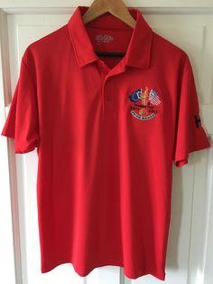Men's Medium Red Breathable Sports Golf Polo Shirt