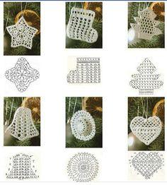 Crochet Christmas Ornaments - Chart ❥ 4U hilariafina  http://www.pinterest.com/hilariafina/