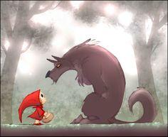 Little Red Riding Hood - Le petit Chaperon Rouge by Poubelle-de-Dav Red Riding Hood Wolf, Little Red Ridding Hood, Op Art, Illustrations, Illustration Art, Charles Perrault, Art Du Monde, Red Hood, Bad Wolf