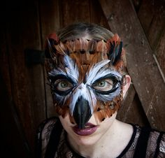 Feather Great Horned Owl Mask by FemaleArtCollective on Etsy, $70.00