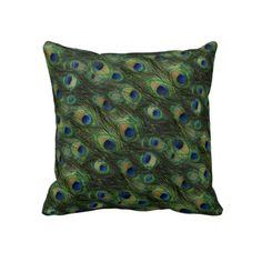 Elegant Peacock Feathers Pattern Pillow