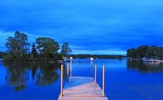 A summer night's view of the dock on Pigeon Lake near Bobcaygeon, Ontario, Canada.