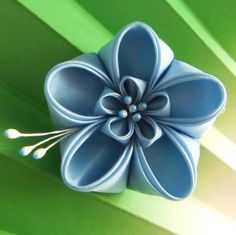 Blue ume silk kanzashi alligator clip by GirLinKimono on Etsy, £9.00