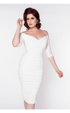 high glamour figure shaping off the shoulder gathered wiggle dress in off white Off White Wedding Dresses, How To Dress For A Wedding, Reception Dresses, White Cocktail Dress, White Dress, Pin Up Dresses, Dress Up, Pinup Girl Clothing, My Sun And Stars