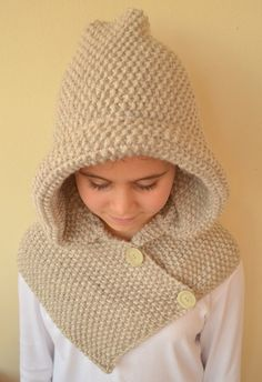 Hand Knit Hooded Cowl