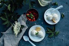 Coconut Elderflower Syrup Ice Cream