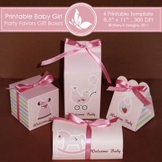 Printable Baby Girl party favors gift box 2