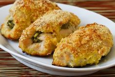 Recipe for Baked Chicken Breasts Stuffed with Sage-Pecan Pesto and Feta--there are several links on this page for more nice recipes