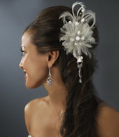 Vintage Bridal Feather Hair Fascinator with Dangling Crystals Clip 8105 with Brooch Pin