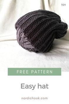 Easy hat - Nordic Hook Modern Crochet Patterns, Knitting Patterns Free, Knit Patterns, Free Pattern, Pattern Design, Crochet Gratis, Free Crochet, Chunky Infinity Scarves, Crochet Winter