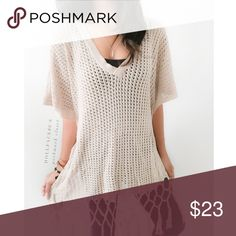 """CAbi Tan Boho Knit This sweater has a loose tan knit with a fun boho fringe at the bottom & deep v-neckline{actual color of item may vary slightly from pics}  *chest:28.5"""" *waist:27.5"""" *length:23""""/knotted part:about 31"""" *sleeves:13.5"""" *material/care:100% cotton/hand wash  *fit:billowy/could work for lrg too *condition:good/pre-worn no rips it stains  🌸20% off bundles of 3/more items 🌸No Trades  🌸NO HOLDS 🌸No transactions outside Poshmark  🌸No lowball offers CAbi Sweaters V-Necks"""