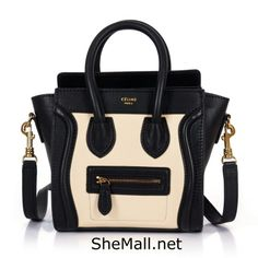 Celine Boston bag Calfskin multicolor beige grain black.Genuine brand leather bags of HERMES MIUMIU on sale.   #fashion #styles #leather #purse #brand #vintage #women #ladies #lindy #bag #handbag   #hermes #dior #celine #prada #gucci #guess #lv #chanel