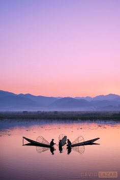 Three Fishermen at Dawn, Myanmar, David Lazar