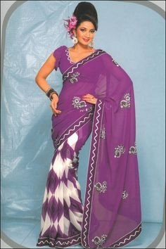 Purple and White Faux Georgette Party and Casual Printed Saree $50