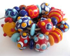 Inspired by Mexican Tiles Handmade Lampwork Beads